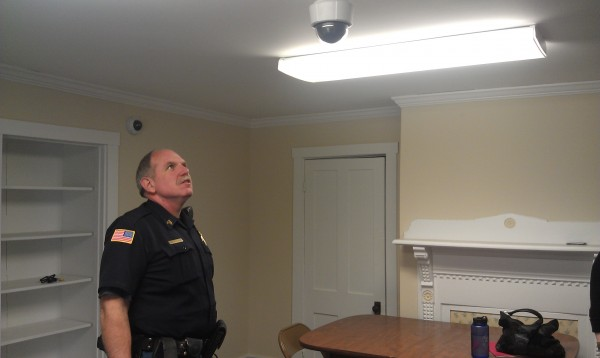 Dover-Foxcroft police Sgt. Todd Lyford explains the capabilities of the camera system inside a new room at the police department dedicated to interview children believed to be victims of sexual assaults, on April 19, 2013.