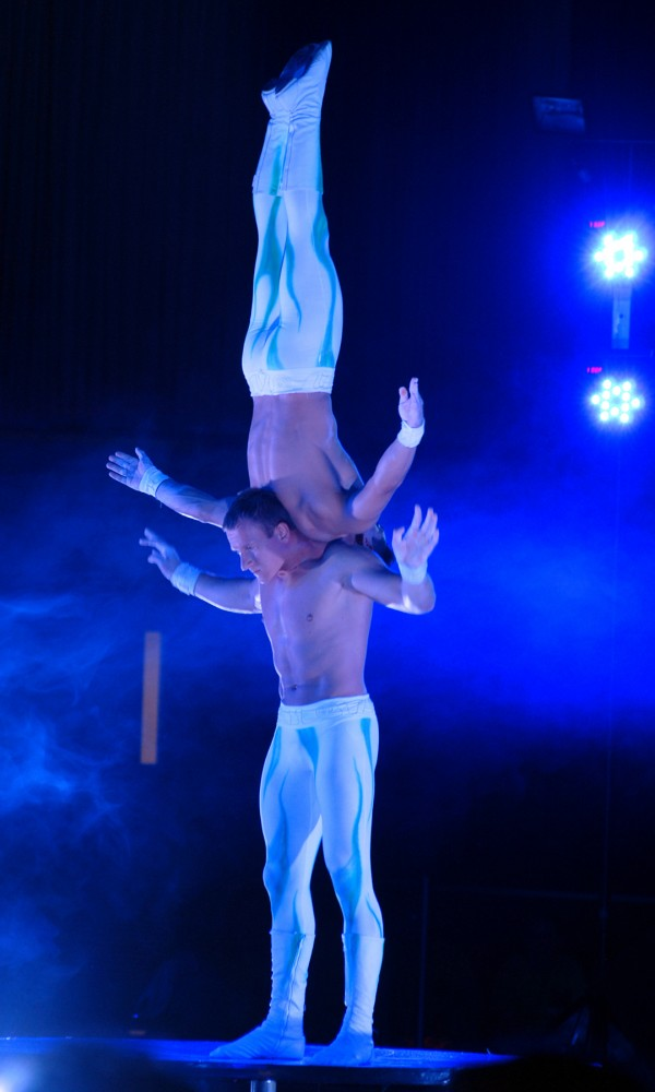 Duo A&A shows their extrordinary strength and endurance during their amazing act in the opening show of the 2013 Anah Shrine Circus at the Bangor Auditorium on Friday.  This year marks the 50th anniversary of the Anah Shrine Circus.