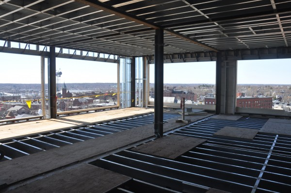 A view of what will be the Top of the East, the Eastland Park Hotel's rooftop bar, which will be double its original size. The Eastland Park Hotel in Portland is being gutted and will reopen in December 2013 as a Westin property.