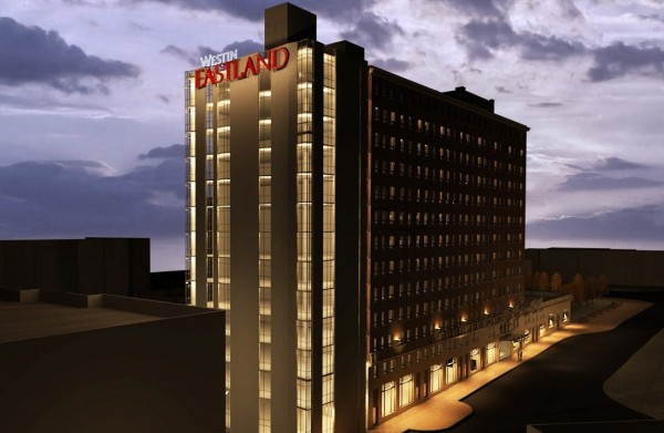 A rendering of the new Westin Portland Haborview Hotel, which is slated to open in December 2013. The iconic red Eastland sign will remain, with the addition of the Westin name.