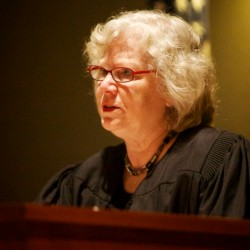Justice Joyce Wheeler speaks in court Friday morning at Anthony Pratt's first appearance.