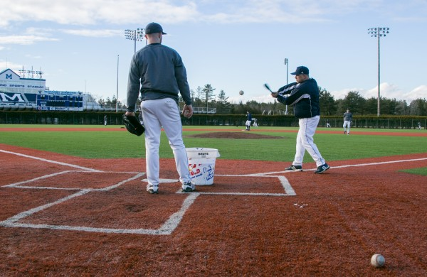 The University of Maine baseball team took advantage of warm weather and practiced outside on Thursday, Jan. 31, 2013.