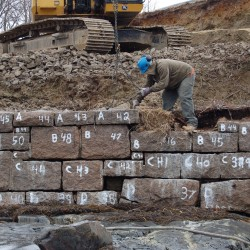 Every original stone on the sea wall in Bar Harbor was numbered before being removed so they could be reused in the rebuilding effort.