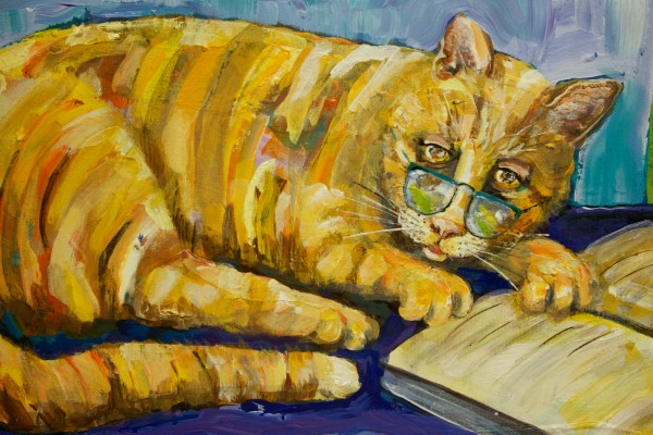 Detail of &quotSimba the Scholar&quot by Westbrook High School director of art Carol Connor hangs in a show in Westbrook dedicated to Simba the cat, who has hung around the school for 13 years.
