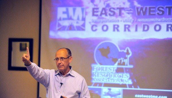 Cianbro Corp. Chairman and CEO Peter Vigue speaks before members of the Forest Resources Association during the group's meeting at the Sea Dog in Bangor on Thursday, Sept. 13, 2012. Vigue spoke about the proposed east-west highway.