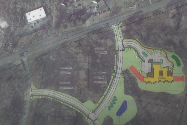 The aerial photograph and overlay of the proposed hospice house on the grounds of Pen Bay Medical Center in Rockport was presented to the town planning board. Route 1 is the road on the top of the photo.