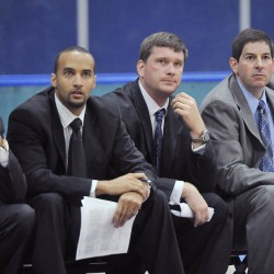 Men's basketball coaching staff: L/R,  Chris Markwood, Doug Leichner, Ted Woodward, 2009.