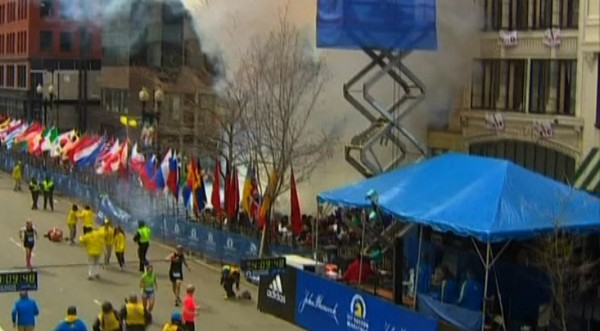 Still image taken from video courtesy of NBC shows fallen runners following an explosion at the Boston Marathon, April 15, 2013.