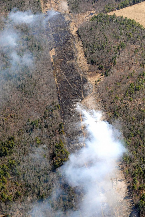 A large swath of brush along Central Maine Power's utility lines burned Tuesday afternoon off of College Road in Lewiston.