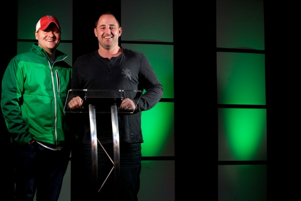 Lead Pastor Joshua Gagnon (right) and Location Pastor Allen Robbins  of the Next Level Church stand in the high-tech pulpit at their Portland location. The church also has branches in New Hampshire and in Massachusetts.