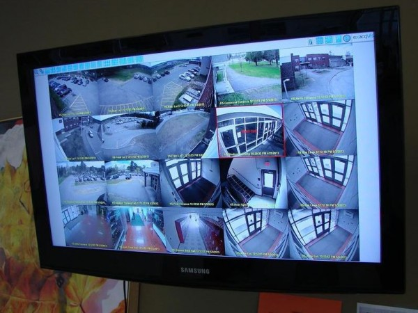 This screen, in the Greely High School main office, displays video that monitors various parts of the school. It is part of a series of district-wide security upgrades made earlier this year.