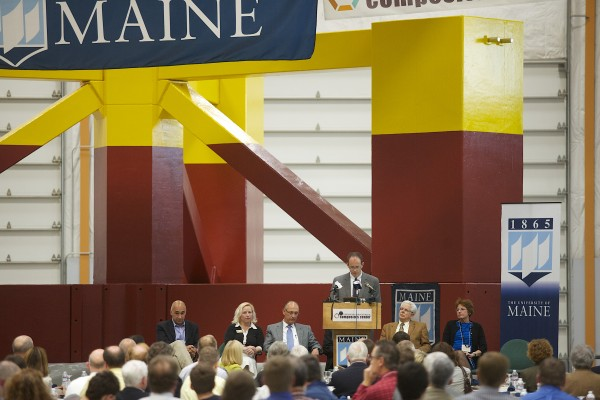 The University of Maine in Orono unveiled the base for its 1/8-scale wind turbine which will be floated down the Penobscot River and out to the Gulf of Maine, where it will become the first floating wind turbine off the coast of the U.S.