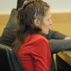 Roxanne Jeskey sits in court on Thursday during the closing argument of her competency hearing at the Penobscot Judicial Center on April 16.