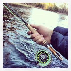 BDN Visuals Editor Brian Feulner uses a new fly rod he built on the Union River Tuesday evening near Amherst, Maine.