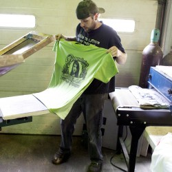 Bryan Bartlett makes T-shirts at WorkStore, a screen print and embroidery company in Glenburn. The shirts were made in honor of Nichole Cable, the 15-year-old Glenburn girl who was found dead earlier this week.