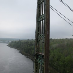 The East Tower of the defunct Waldo-Hancock Bridge, on the Verona Island side of the Penobscot River, after its cables were cut on Thursday, May 16, 2013.