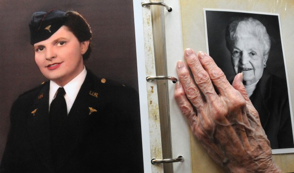 Georgia Randall in her Army Nurse Corps uniform during WWII and on the right in the late 1990's. Randall, a Belfast resident, just turned 100
