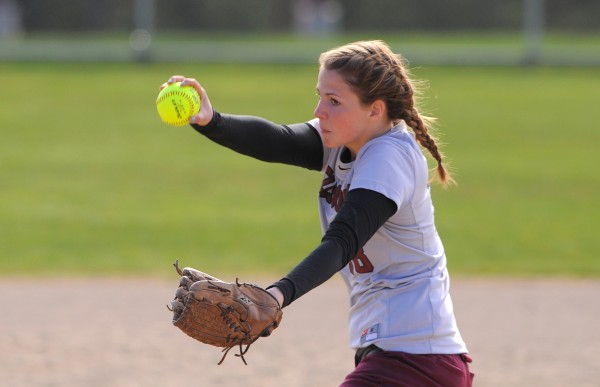 Ellsworth's Megan Hunt pitches during the game against Old Town in Ellsworth Thursday.