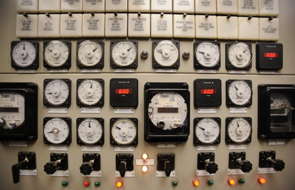 Gauges and switches at Ridgewood Power Management's Indeck Maine Energy facility in West Enfield allow giant operators to merge their power generation onto the Bangor Hydro grid.