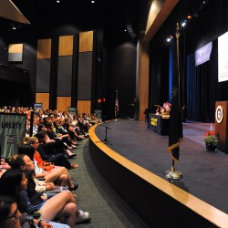 Gov. Paul LePage speaks during the 2013 Girls State assembly at Husson University in Bangor Tuesday evening.