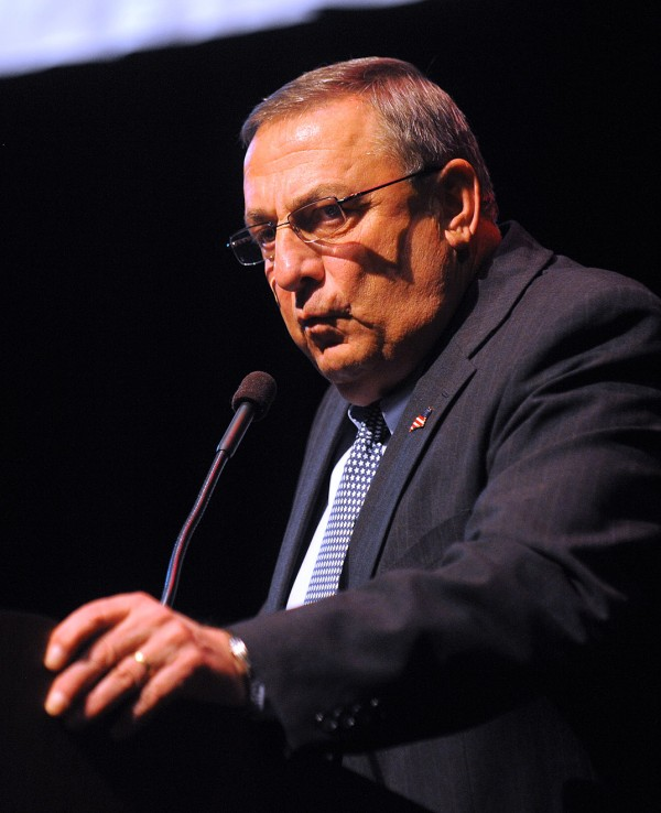 Gov.Paul LePage answers questions during the 2013 Girls State assembly at Husson University in Bangor Tuesday evening.