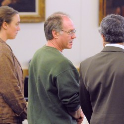 David Coon (center) at the Penobscot Judicial Center Wednesday morning with his attorneys Jeffrey Silverstein (right) and Logan Perkins.  Coon pleaded not guilty to a murder charge in connection with the death of Sherry Clifford.