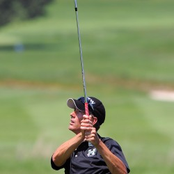 Bill Hutchins on the second hole during the Paul Bunyan Golf Tournament at the Penobscot Valley Country Club in Orono Sunday.