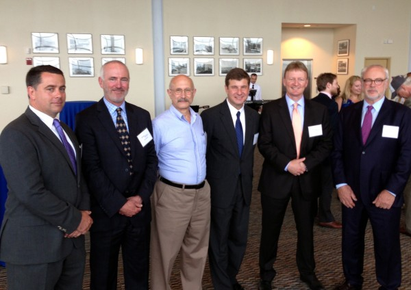 Eaton Peabody, a Bangor-based law firm, on June 25 celebrated the opening of its Portland office. Pictured here are David Austin (third from the right), the firm's managing partner, along with the five attorneys working in the new office. From the left: Michael Hahn, Bruce Hochman, Edward Feibel, Austin, Neal Pratt and David Pierson.
