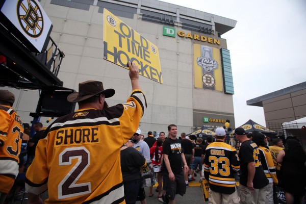 Boston Bruins fan David Heard holds up a sign outside TD Garden in Boston before Game Six of the 2013 Stanley Cup Finals against the Chicago Blackhawks.