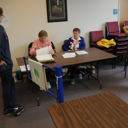 &quot I cannot remember a voting day as slow as this.&quot said election clerk Dorothy Plummer on Tuesday. Plummer (second from left) checks in Norah Bird (left)  as election clerk Carol Mower and election warden Geoff Gordon watch at the Orono municipal building on Tuesday.
