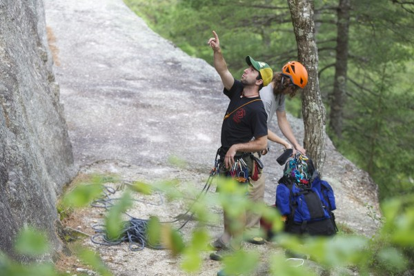 Jared Garfield, Manager of Rental Equipment and Repairs at the Mainebound Adventure Center, and Jimmy Haller get ready to climb the 5.9 route &quotWheaties&quot at Eagle Bluff in Clifton, Maine.