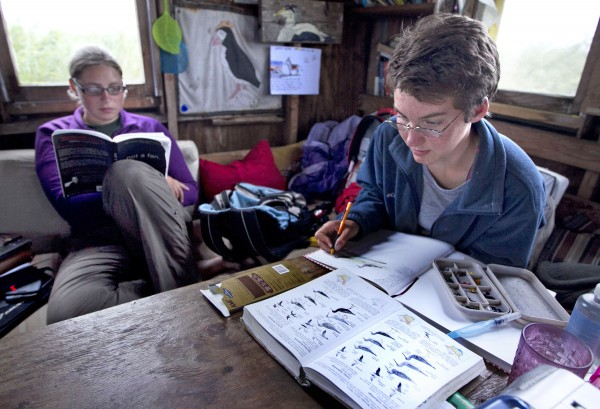 Aspen Ellis, 17, of Ann Arbor, Mich., illustrates her journal while Kaitlyn Nafziger catches up on her reading on a rainy day on Eastern Egg Rock.