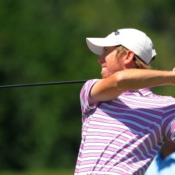 Jon McLean tees off during the final round of the Greater Bangor Open Saturday at Bangor Municipal Golf Course.