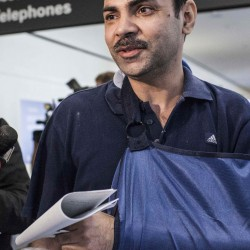 Veddpal Singh, a passenger from the crashed Asiana Airlines Boeing 777, speaks to the media Saturday at San Francisco International Airport in San Francisco, Calif. Singh sat in the middle of the plane and suffered a fractured collarbone.