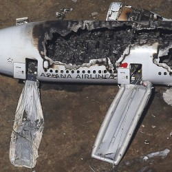 An aerial view of an Asiana Airlines Boeing 777 that crashed Saturday while landing at San Francisco International Airport in California.