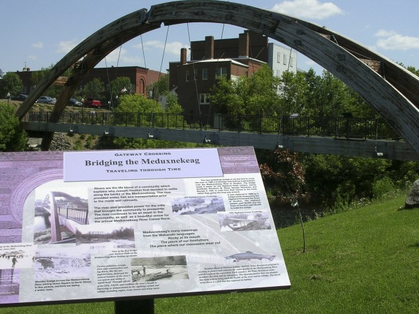 An informational storyboard sits in the Riverfront Park in Houlton in this 2009 file photo. On Monday, Town Councilors weren't as keen about a proposal that could outfit the park with public restrooms, saying there was no money in the budget for future maintenance costs.
