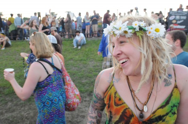 Mia from Farmington giggles during the first set of Phish at the Darling's Waterfront Pavilion on Wednesday.
