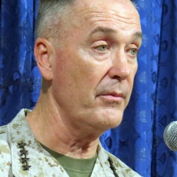 Gen. Joseph F. Dunford Jr., commander of U.S. and NATO troops in Afghanistan Tuesday, June 18, 2013, during a news conference at NATO headquarters in Kabul. He was speaking on the transition to Afghan government control of security operations across the country.