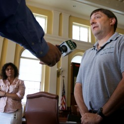 Maine Senate Majority Leader Troy Jackson, D-Allagash, condemns anti-gay and anti-Catholic Church statements made by Michael Heath and Paul Madore in Augusta Wednesday.
