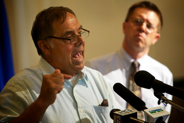 Paul Madore, director of the Maine Grassroots Coalition, aims criticism at Maine Catholic Churches for &quotcovertly&quot supporting the &quotgay agenda&quot at a press conference in Augusta Wednesday.