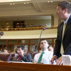 State Rep. Kenneth Fredette speaks against overriding Governor Lepage's veto of LD1362, a tar sands study, at the State House Tuesday. The house did not pass the override.