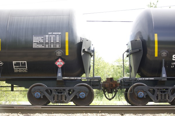 Tankers remain on a rail off Route 2 in Hermon on Friday.
