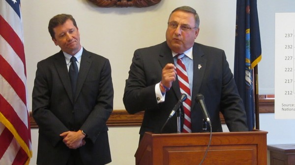 Maine Education Commissioner Stephen Bowen and Gov. Paul LePage in 2012.
