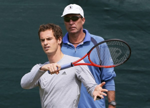 Andy Murray of Britain trains, with his coach Ivan Lendl (right), on a practice court at the Wimbledon Tennis Championships, in London July 4, 201