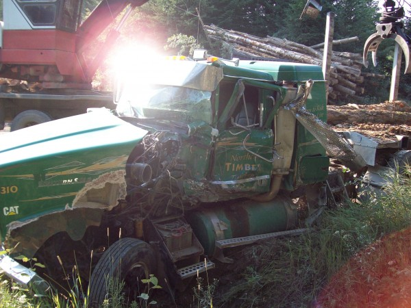 A two-vehicle accident in the north Maine woods sent a logging truck driver to the hospital with non-life threatening injuries late Wednesday night.