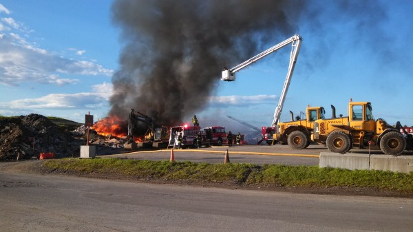 Portland firefighters responded to this blaze at the city's Riverside Recycling facility Friday evening. Crews continued to battle the persistent fire until approximately 1:30 a.m. Saturday, then returned again more than four hours later to respond to rekindled hot spots.