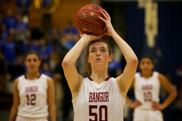 Bangor High School's Cordelia Stewart shoots a free throw at the Class A Eastern Semifinal basketball game in Augusta on Feb. 20, 2013.