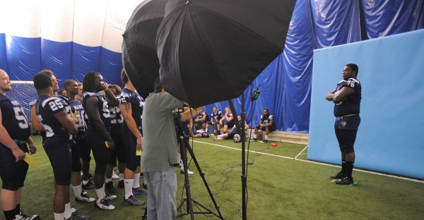 The University of Maine's Tyler Patterson (right) poses for a picture during media day in Orono Friday.