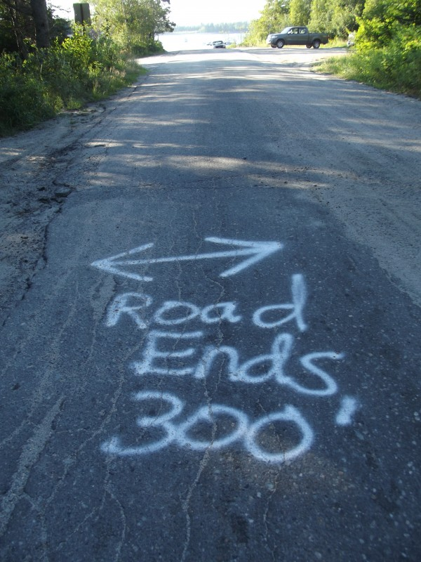 Schoppee Point Road in Roque Bluffs, shown Thursday, Aug. 1, has been marked with spray paint that reads, &quotRoad Ends 300.'&quot