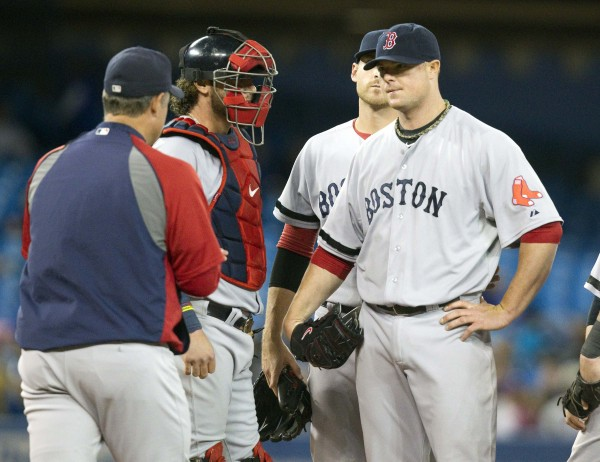 Boston Red Sox manager John Farrell (left) walks to the mound to take out starting pitcher Jon Lester (right) in the seventh inning game against the Toronto Blue Jays in Toronto Wednesday night.